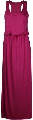 Damen Neu Elastisch Geraffte Taille Toga Racerback Damen-kleider Einfarbig Ärmellos Langes Top Maxi Kleid - Fuchsia, M/L (Kleid Mieder Geraffte)