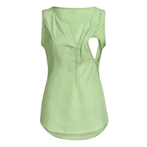 ands Still-Oberteil Top Einfarbiger V-Ausschnitt Ärmellos Stillmode Mutterschafts Langarm Gestreifte T-Shirt Bluse Stillen Baby Umstandshirt Unterhemd Tops ()