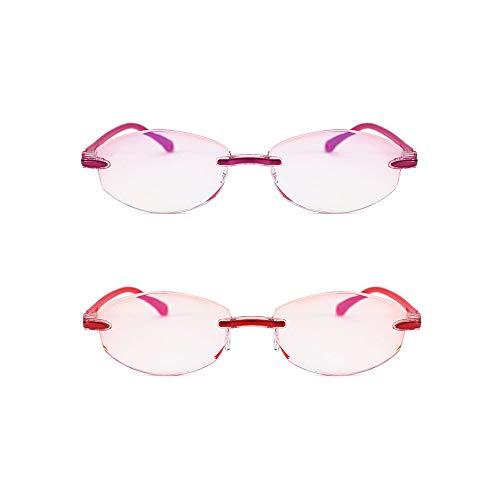 Mode Lesebrille Spring-Scharniere 2er Pack Computer Lesebrille Frameless Lesebrille Anti Blaulicht Eyewear Retro Classic Stylish Look Clear Vision,2.0