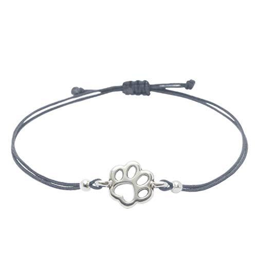 Pfoten Armband Silber Grau von SelfmadeJewelry - Handmade & Größenverstellbares Armkettchen