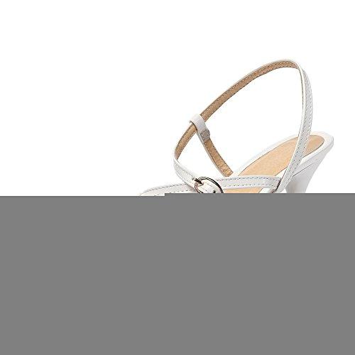 VogueZone009 Donna Fibbia Tacco A Spillo Pelle Di Maiale Puro Punta Chiusa Sandali Bianco