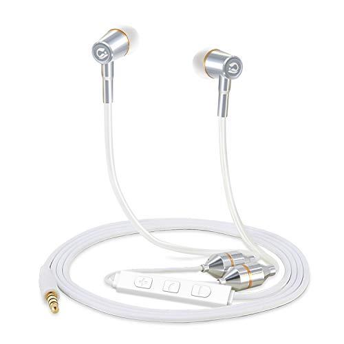 Tuisy Aufgerüstet Anti-Strahlung-Kopfhörer Air Tube Patent In-Ear Geräuschisolierung Ohrhörer Stereo Headset mit Mikrofon Lautstärkeregelung EMF Schutz für Handys Apple iPhone (Weiß)