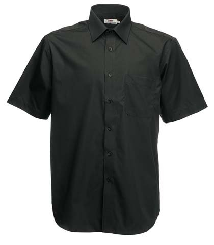 Fruite of the Loom Herren Poplin Kurzarm Business Hemd, vers. Farben XXL,Schwarz