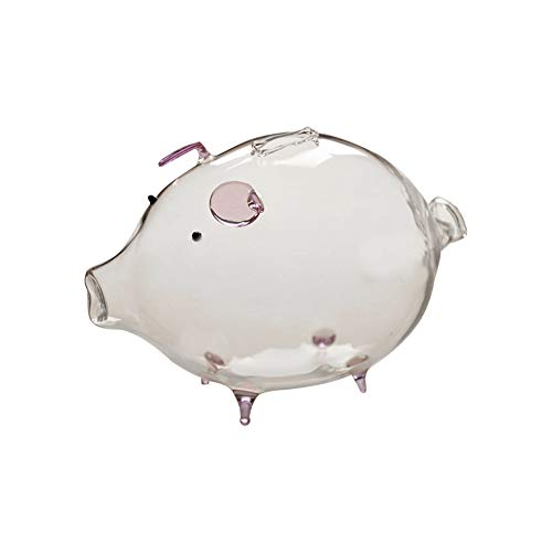 NaiCasy Klares Sparschwein Piggy Bank Hohe Borosilicatglas Cartoon Schwein geformt Kinder Piggy Bank Lila