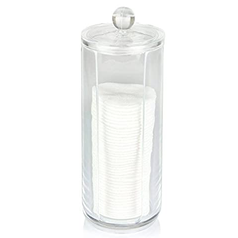 Oriskey Round Cylinder Acrylic Cotton Pad Dispenser Cosmetic Makeup Holder Organizer Container Storage Case