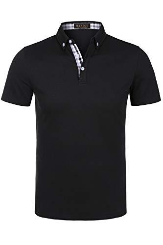 MAROJO Herren Poloshirt Kurzarm Einfarbig Karo Patchwork Sommer T-Shirt Men\'s Polo Shirt (Schwarz, XL)