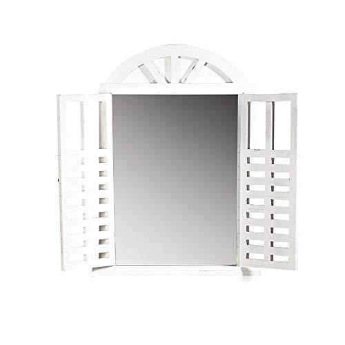 Melko Wandspiegel mit Fenstertüren Country Look Spiegelfenster mit Fensterläden Runbogenspiegel Weiß als Fenster Deko