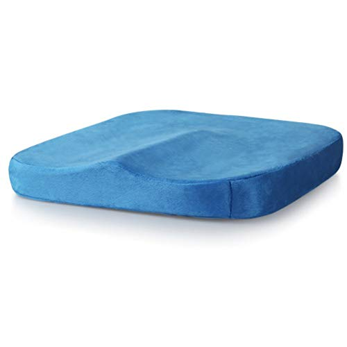 Gomma piuma di memoria ortopedici antiscivolo Cuscini sedie ,Rimbalzo lento traspirante prevenire coccige e dolore di sciatica quattro stagioni sedia pastiglie-Blu D 45x45x5.5cm(18x18x2inch)