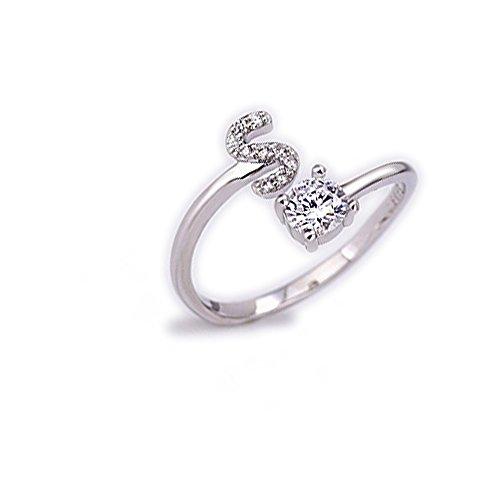 Beloved ❤️ anello da donna con cristalli e solitario con lettera iniziale placcato rodio - misura adattabile - tutte le lettere dell'alfabeto - vestibilità da misura 9 a 20 - argento (s)