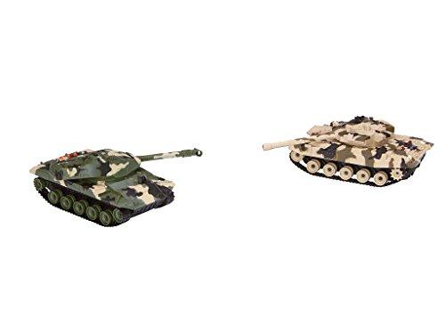 Revell Control 24224 – RC Panzer Set, Battle Game POWER TRACKS, 2 RC Panzer mit Infrarot-Schussfunktion, Soundmodul, Rückstoßeffekt, Mündungsfeuer-LED, Kettenlaufwerk mit Gummikette, MHz - 9