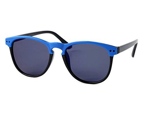 (Alsino Kinder Sonnenbrille Clubstyle 60er Jahre Jungen Mädchen Vintage Kindersonnenbrille markanter Halbrahmen, Variante wählen:K-129 blau schwarz)