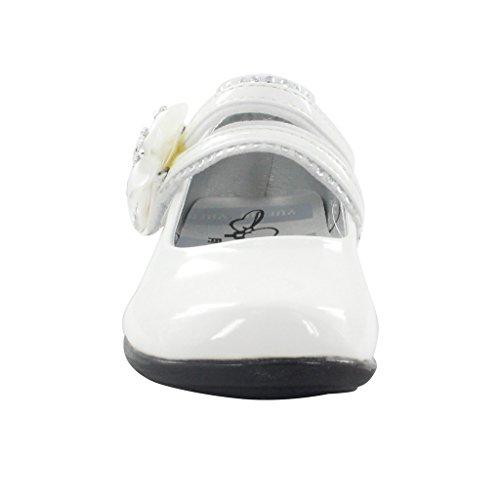 Maxu Girl's avec Paillettes étincelante Collants avec fleur Marie Chaussures Blanc - blanc