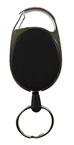 Ausziehbarer Schlüsselhalter JoJo, Schlüsselband Ausweis JoJo mit starker Feder und reißfester Schnur (75cm), Schlüsselanhänger - 4 Farben (schwarz)