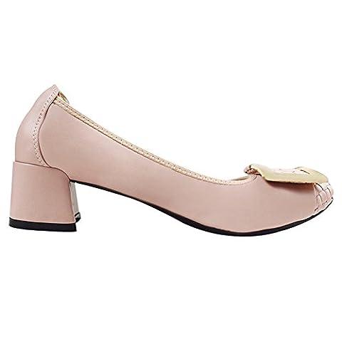 Frauen-Damen-Beleg auf Schaffell-Leder Mid-Ferse Chunky Schuhe Pumps 0018-1 (Rosa,41)