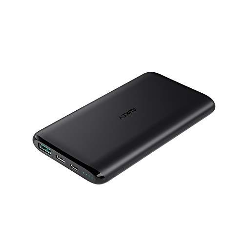 Aukey usb c powerbank 10000mah, caricabatterie portatile con 2 ingressi, batteria esterna sottile per iphone xs/xs max/xr, nintendo switch, samsung s9, pixel 2/3, ecc.