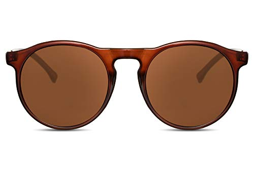 Cheapass Sonnenbrille Rund Rot-Braun Getönt UV-400 Retro Vintage Plastik Damen Herren