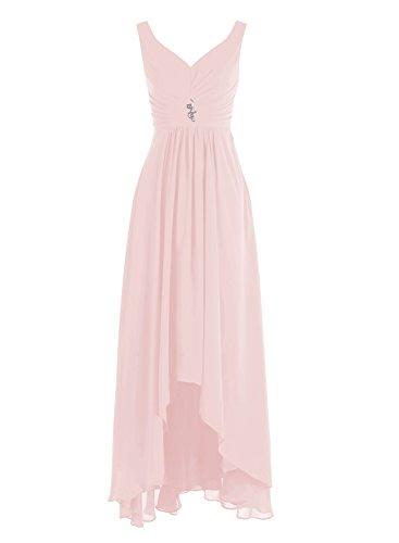 Bbonlinedress Robe de demoiselle dhonneur Robe de cérémonie col en V ourlet asymétrique longueur ras du sol Rose
