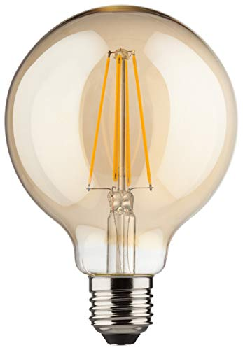 Gold 8 Licht (MÜLLER-LICHT 400204 A++, Retro-LED Lampe Miniglobe ersetzt 60 W, Glas,  8 W, E27, gold, 9,5 x 9,5 x 14 cm dimmbar)