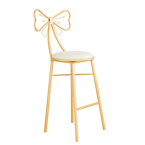 D-Z Moderne Hohe Hocker Küche Liefert Barhocker Goldene Bogen Hocker Kunstleder Kissen Rezeption Hocker Damen Make-up Stuhl (größe : 75cm) -