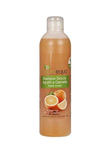 NATURAEQUA - Shampoo-Duschgel Zitrusfrüchte und Zimt - Mit besonders empfindlichen Tensiden - Gemüse-Plastik-Paket - Nickel getestet - keine Parabene - 250ml