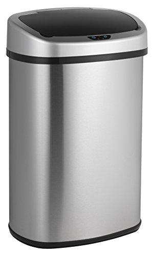 LIFA LIVING 48L Automatischer Freihändiger Sensor-Mülleimer, Küchenabfälle, Abfalleimer mit Hand Bewegungssensor, Edelstahl, Silber (48 Liter) (Silber Mülleimer)