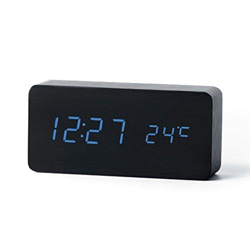 Forepin® Grana del Legno Blu LED Alarm Clock - Ora Temperatura Data & Sound Control - Ultima Generazione Desktop Digital Legno Sveglia Alimentato Tramite Cavo USB o 3pcs Batterie AA (Nero Legno + Blu LED)