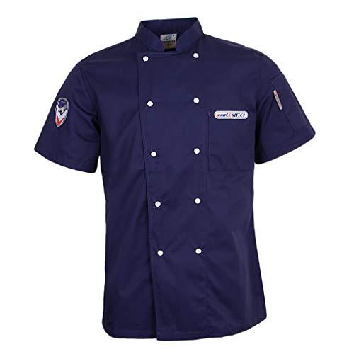 F Fityle Kurzarm Kochjacke Bäckerjacke Kochkleidung Chef Jaket Koch Arbeitskleidung Gastronomie Restaurant Berufsbekleidung - Blau, L Executive Chefs Jacket