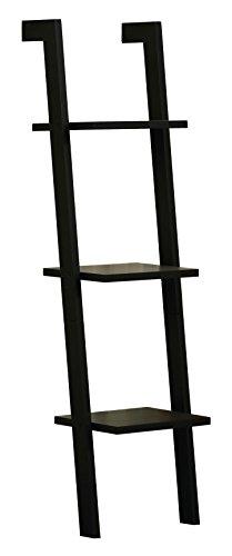 Orolay Wandregal Modern Wall Ladder Shelf Storage Display Shelving Rack 3 Tiers (Schwarz)