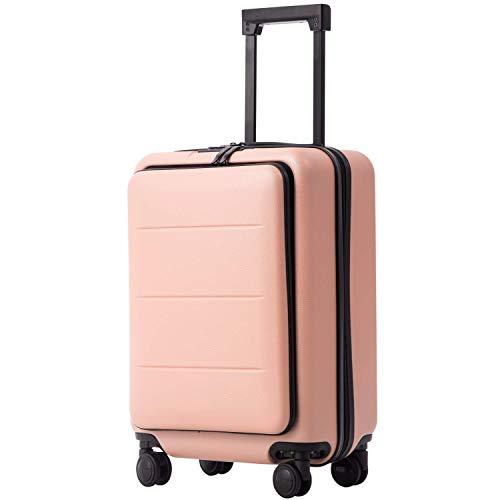 COOLIFE Business-Trolley Reisekoffer Vergrößerbares Gepäck (Nur Großer Koffer Erweiterbar) ABS+PC Material mit TSA-Schloss und 4 Stumm schalten Rollen (Kirschblüte Pulver, Handgepäck(S))
