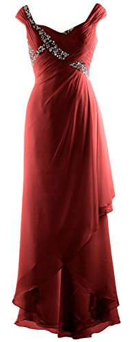 MACloth Elegant V Neck High Low Mother of Bride Dress Maxi Chiffon Formal Gown Burgunderrot