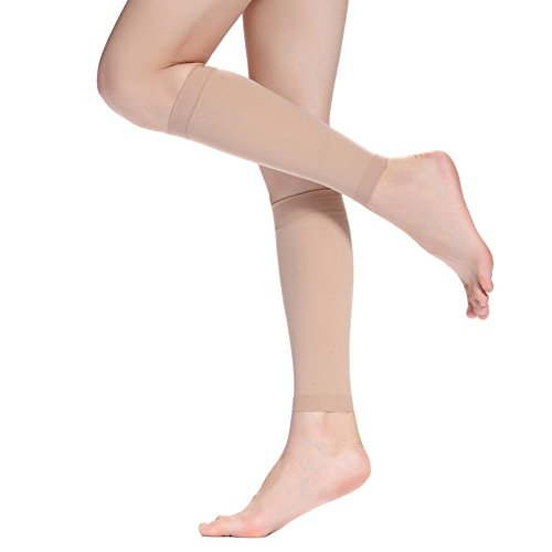 Kompression Bein (Kompressions-Wadenbandage Ärmel-Bein Kompression Socken für Schienbein Splint, Wade Schmerzlinderung-Männer Frauen Sleeve für Laufen, Radfahren, Mutterschaft, Krankenschwestern, Nude, XX-Large)