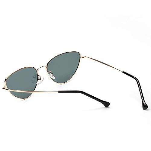 Gaodaweian Frauen Sonnenbrillen Brillen Cat Eye Damen Klassische Vintage Verspiegelte Flache Linsen Metallrahmen Sonnenbrille Mode UV Blocking (Color : Gray)