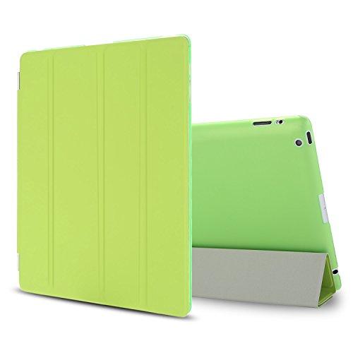 Besdata iPad 2 3 4 Hülle Smart Cover Schutz Case Leder Tasche Etui für Apple iPad Ständer Sleep Wake mit Displayschutzfolie Reinigungstuch Stift Grün