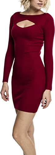 Urban Classics Damen Ladies Cut Out Dress Kleid, Rot (Burgundy 606), Medium - Burgund Rollkragen Top