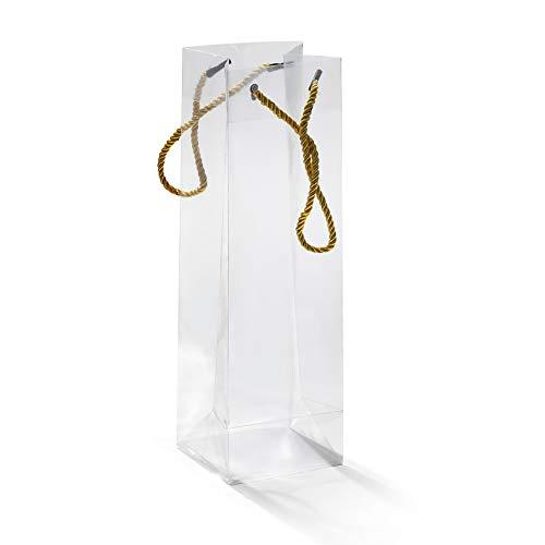 20 Pezzi Sacchetti Porta Bottiglia di Vino Materiale PVC Trasparenti Impermeabile Manico Corda