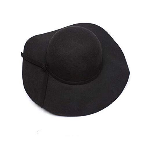 Mützen Damen Elegante Filz Brim Mädchen Wide Hut Bowler Mode Modern Style Sunscreen Strandhut Schlapphut Caps (Color : Schwarz, Size : One Size)