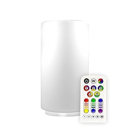 Müller-Licht LED-Tischleuchte, EEK A, mit Farbwechsel und Warmweiß inkl. Fernbedienung und Batterie ML57043 Zylinder Form RGB+