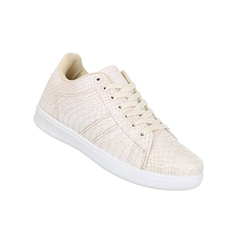 Damen Schuhe Freizeitschuhe Schnürer Schlangenoptik Sneaker Beige