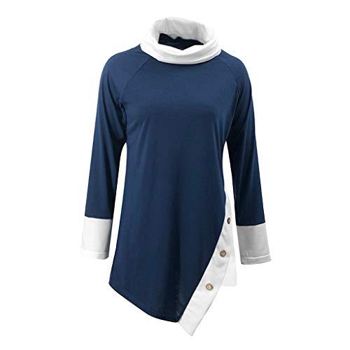 JERFER Damen Rollkragenpullover Color Block Langarm Button Unregelmäßige Bluse Tops Shirt
