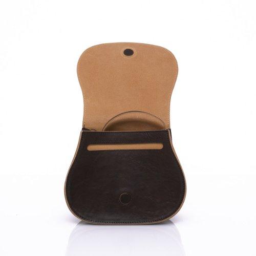 Slowbag SLOW BALL Exklusive handgemachte Handtasche für Damen Naturleder dunkelbraun&sand