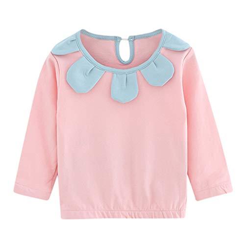 c86346f5c31d6 T-Shirt Manches Longues Bébé Fille - Sunenjoy Haut Collier Feuille de Lotus  Fleurs T