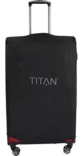 TITAN Luggage Cover UNIVERSAL - aus elastischem Spandex Polyester für 4-Rad Trolleys L, 77 cm, Black