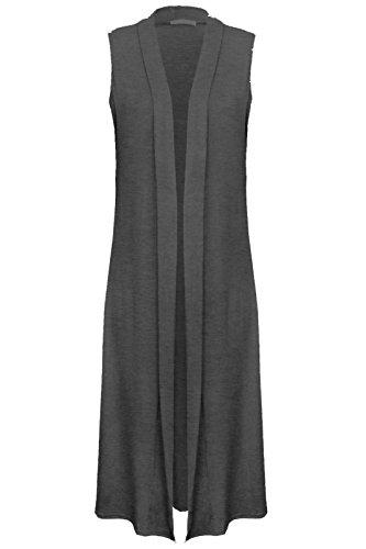 Janisramone Nouveau femme Gilet Long élégant Sans Manches, gilet polyvalent, long pull ouvert, Charbon De Bois
