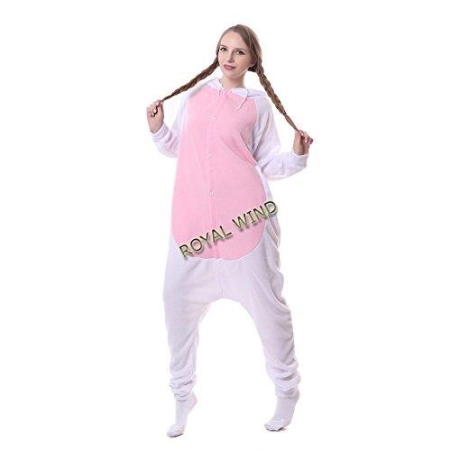 Damen Cosplay Flanell Anime Cartoon Einteiler Erwachsene Weiß Kaninchen Schlafanzüge Gr. L, weiß (Erwachsenen-pluto-kostüm)