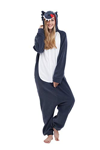 Fandecie costume animale costume animale pigiama pigiama tuta kigurumi donna uomo cosplay adulto per carnevale animale halloween (grigio lupo, l - per altezza 170-179 cm)