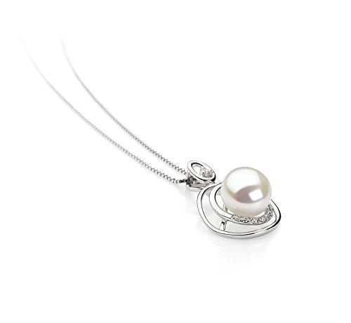 Noir 9-10mm AA-qualité perles d'eau douce 925/1000 Argent-pendentif en perles Blanc