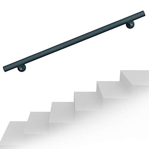 Set pasamanos barandilla montaje pared 200cm Antracita Acero Sujección Escalera Seguridad Decoración