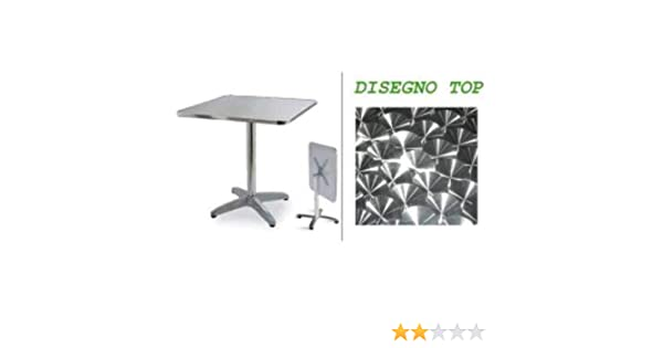 Europe Best Price Furniture Q70 Top Impermeabile con Base Rinforzata Tavolo Alluminio Top 70x70 Gamba Centrale