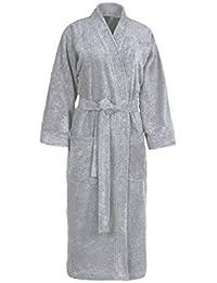 ccbb089f45 SENSEI La Maison du Coton 96147 Accappatoio Collo Kimono Tinta Unita  Cotone, Grigio Perla,