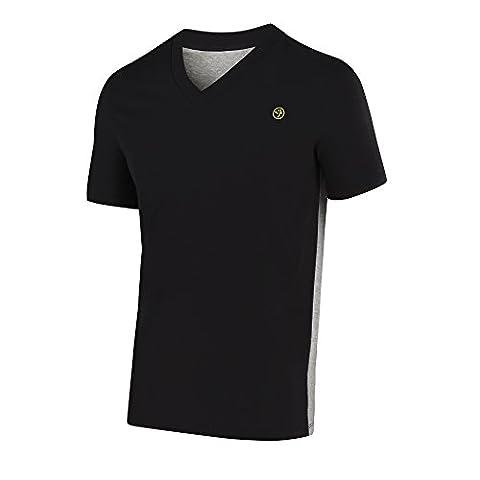Zumba Men's T-Shirt à col en V à deux tons Sew-Noir-Taille XS